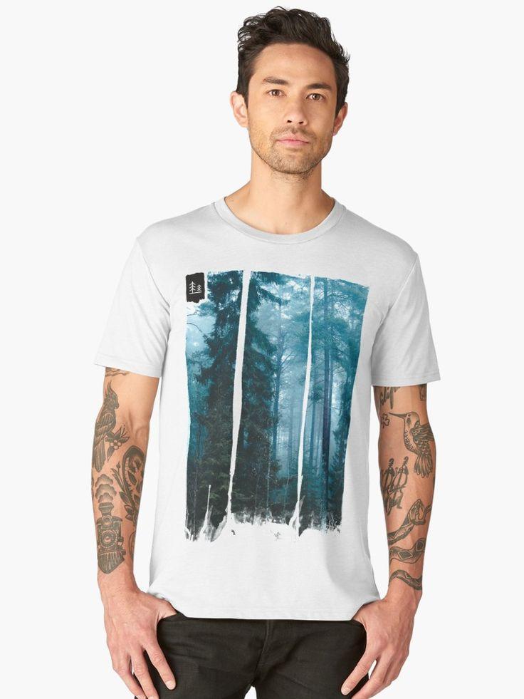 'Hard roads ahead' Men's Premium T-Shirt by HappyMelvin. #forest #fog #nature #fashion #tee