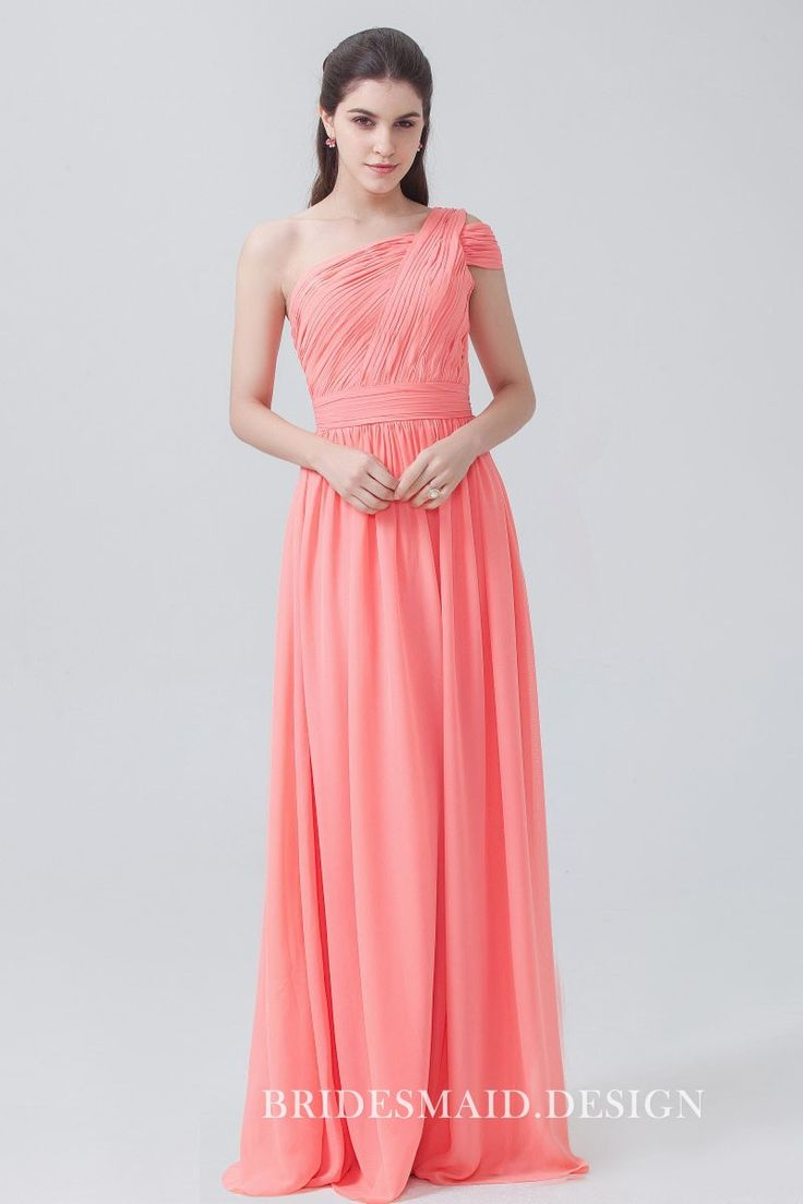 Pleated One Shoulder Coral Chiffon Amazing A-line Long Bridesmaid Dress