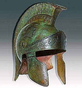 Ancient Roman Helmet can be used as inspiration for what futuristic military equipment could or would look like. Interested in the styling, formal decoration, and shape. Also interested in the way the helmet shows how metals deteriorate and how their colors change in that process.
