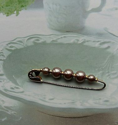 Vintage Inspired Gold&Taupe Colour Safety Brooch Hijab Pin 5.5Cm