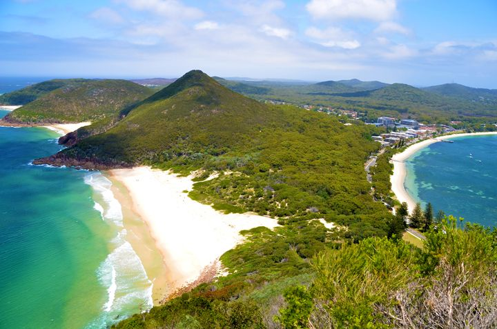 A breathtaking view of Port Stephens from the summit of Tomaree Head.