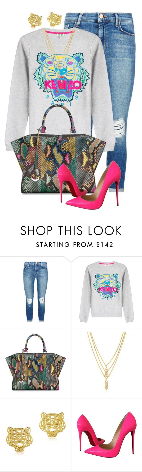 """Kenzo Killa"" by styleswavington ❤ liked on Polyvore featuring J Brand, Kenzo, Fendi, Christian Louboutin, women's clothing, women, female, woman, misses and juniors"