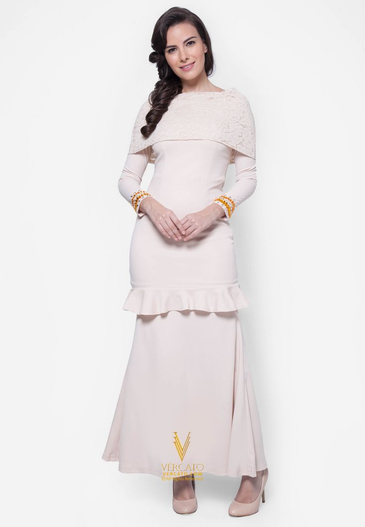 Baju Kurung Moden Lace - Vercato Amelia in Navy Blue. Buy baju kurung moden with lace crochet shoulder cape and embellished rhinestones. SHOP NOW: www.vercato.com