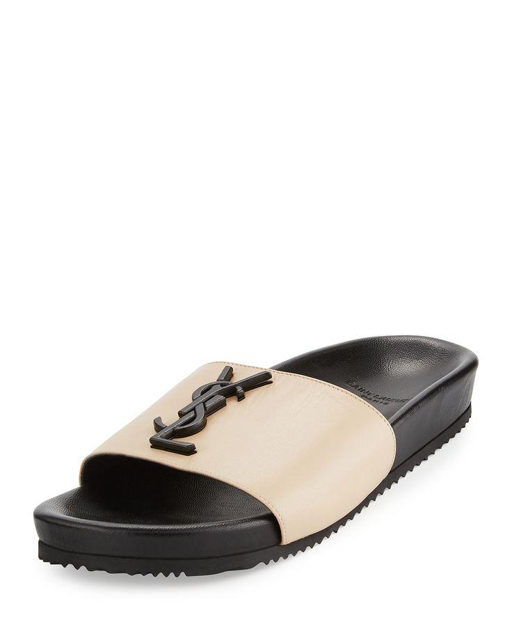 Saint Laurent napa leather slide sandal
