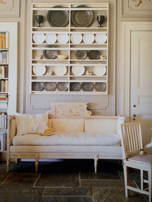 MY CAMELBACK SOFA & PEWTER, & CREAMWARE  rickinmar:   creamware, pewter, linen and stone. A Newport interior.