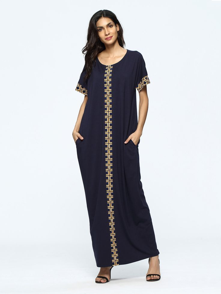 Navy Short Sleeve Geometric Print Pocket Long Dress