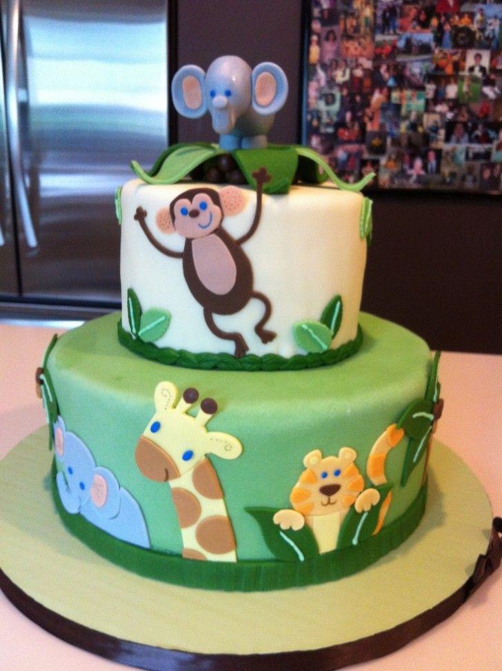 Baby Shower Cake U203a Jungle Theme Baby Shower Cakes With Miniature Elephant U203a  Effective Jungle Theme