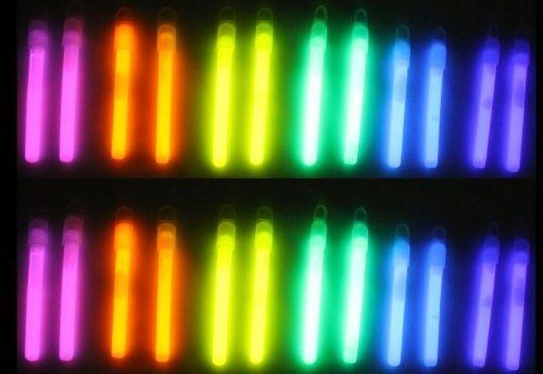 "96) 4"" Glow Sticks Light Party/Fun Glowstick 6 Colors by KMS. $22.99. 48 Pack of Glow sticks 4"" Glow Sticks (96 Total). 16 of each  color: Pink, Orange, Yellow, Grean, Blue, Violet. 4"" (10.16 cm) Each. Bend and Shake to activate glow stick. The Glow sticks are great for party, celebration, clubs, camping, outdoor activity or just for fun.  Each package contains a pair of 4 inch glow sticks and 2 ribbons.  You will get 96 glow sticks total!"
