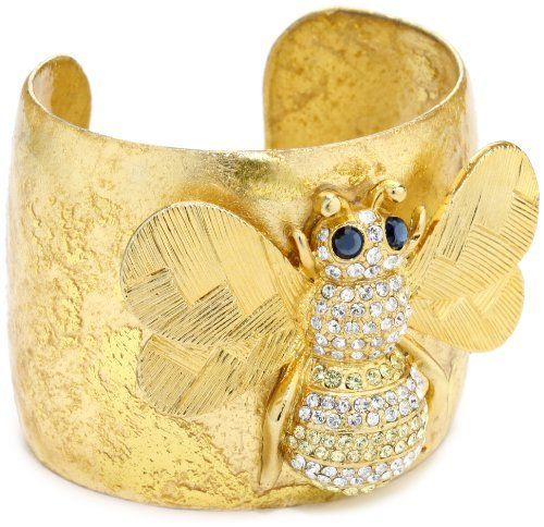 """EVOCATEUR """"Very Vintage"""" 22k Gold-Leaf Cuff Bracelet EVOCATEUR. $458.00. Made in United States. """"Very vintage"""" cuff with a swarovski encrusted elegant bee. Designed and handcrafted by skilled artisans using 22k gold leaf. No two cuffs are exactly alike. A real statement cuff"""
