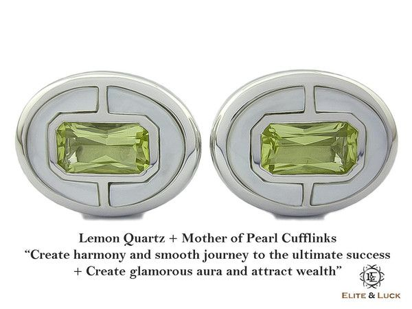 """Lemon Quartz + Mother of Pearl Sterling Silver Cufflinks, Rhodium plated, Prestige Model """"Create harmony and smooth journey to the ultimate success + Create glamorous aura and attract wealth"""" *** Combine 2 Gemstone Powers to double your LUCK ***"""