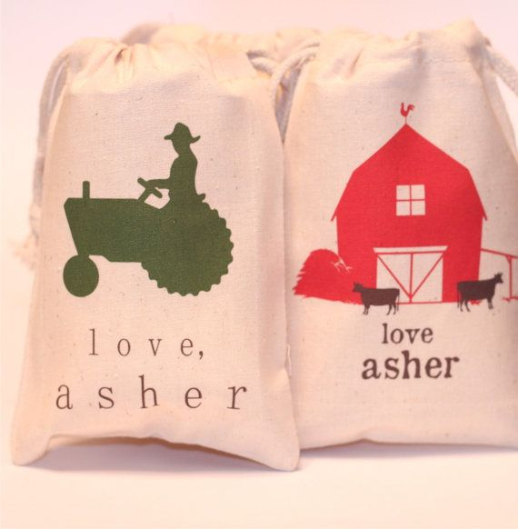 fun tractor - barn - farm themed gift/favor bags for kids party! - so many designs to choose from! - for your little monkey - etsy