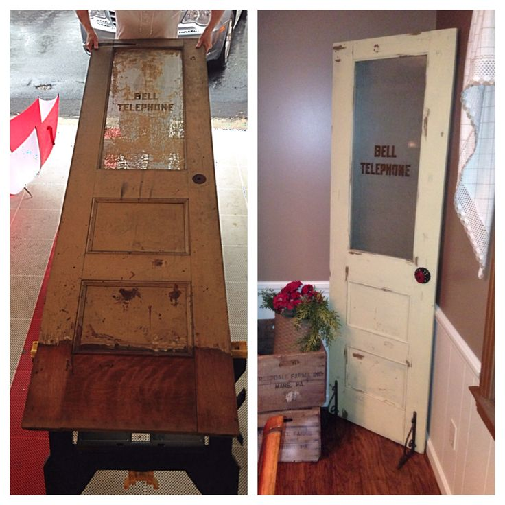 Before and After!!! DIY old Bell Telephone door that my dad got at work years ago. He thinks it's from the 1920's.
