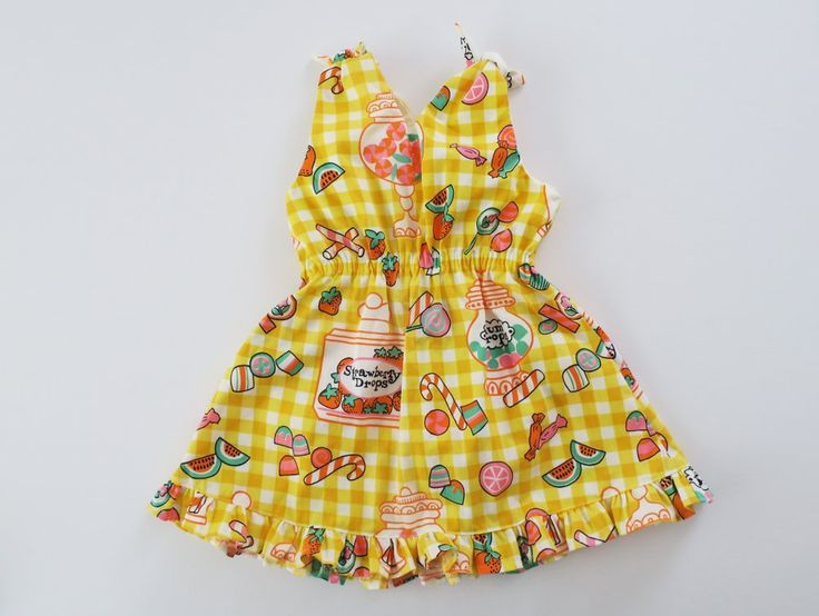 Image of Vintage Candy Drop Shoulder Tie Dress (4T Ready to Ship)