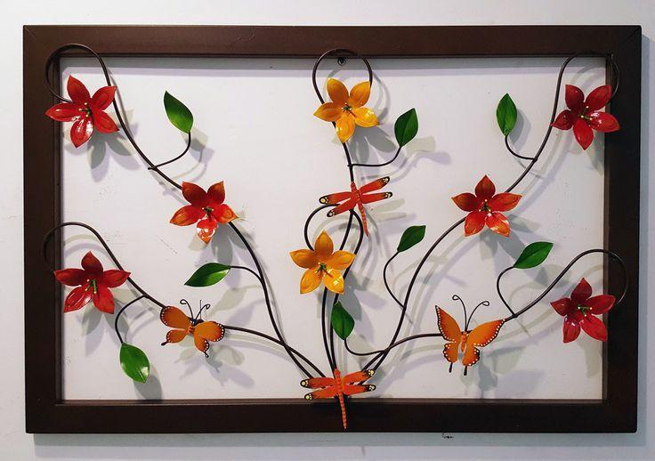 Cuadro Forjado flores y mariposas