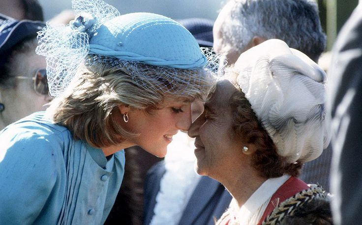 April 24, 1983: Princess Diana receives a traditional Maori greeting (Hongi) during a visit to the Te Poho-o-Rawiri Marae Meeting House in Gisborne   (Day 36)