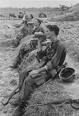"Full photo tag:""....Soldiers of the 25th Infantry Division drink from their canteens during a break in their patrol operations in Duc Pho, Vietnam. Aug. 31, 1967....."" Via ~ The NAM (tag cred ~ Bob B.)"