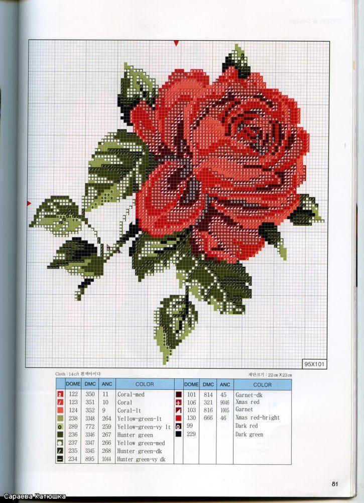 Схема Очень красивая роза | Рукоделие для всех