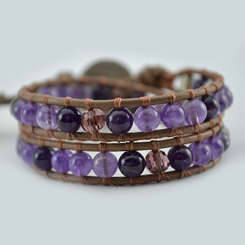 The Spirit Amethyst wrap bracelet has been designed combining beautiful natural Amethyst Gemstones all around and Swarovski accent beads. This bracelet is the perfect companion to our Spirit Necklace and they look wonderful worn together. Created to help you in all love matters and to reconnect with your spirit. Amethyst has amazing powerful healing properties t…