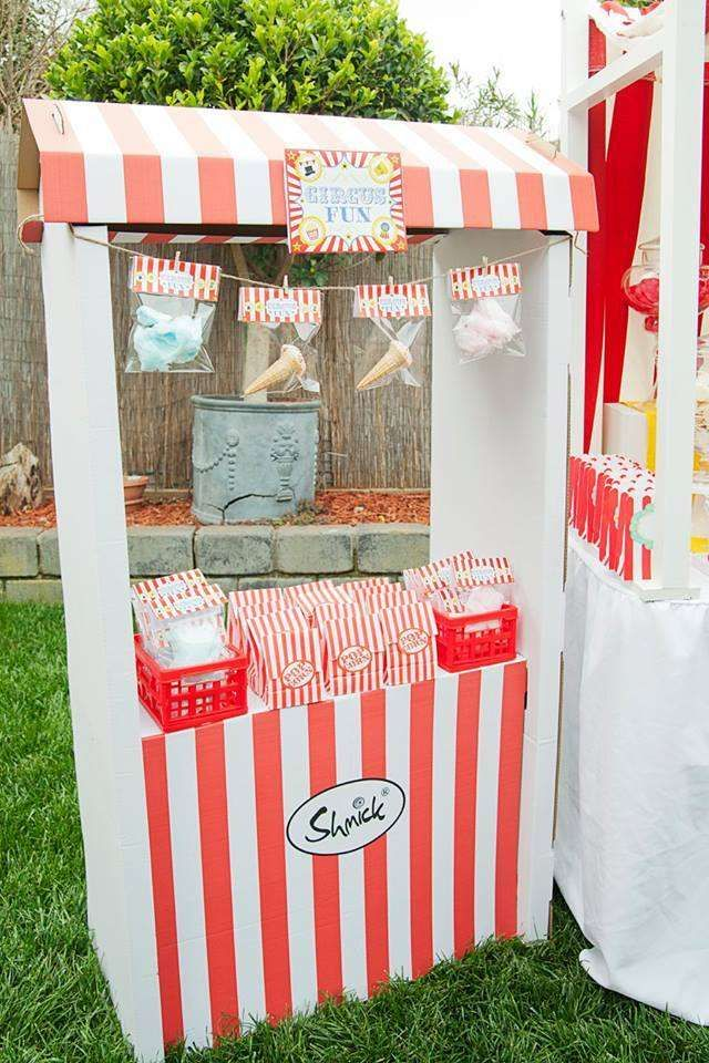 Circus birthday party snack stand!  See more party planning ideas at CatchMyParty.com!
