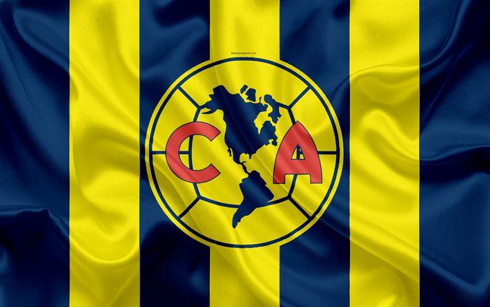 Descargar fondos de pantalla Club América FC, 4k, Mexicana de Fútbol del Club, emblema, logotipo, un cartel, de fútbol, de la Primera División, Campeonato de Fútbol de México, Ciudad de México, México, bandera de seda