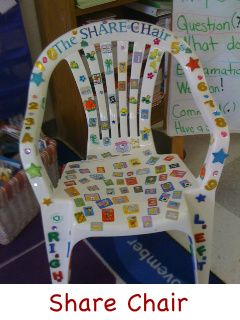 "Quick, Cheap, and Easy Share Chair  One of the teachers at my school made this share chair.  I thought it was clever and cute.  I had never thought of using a plastic lawn chair for a ""Share Chair"".  She decorated it with stickers and the kids love it.  She uses it for not only literacy, but other subjects as well such as the closing of her math lesson."