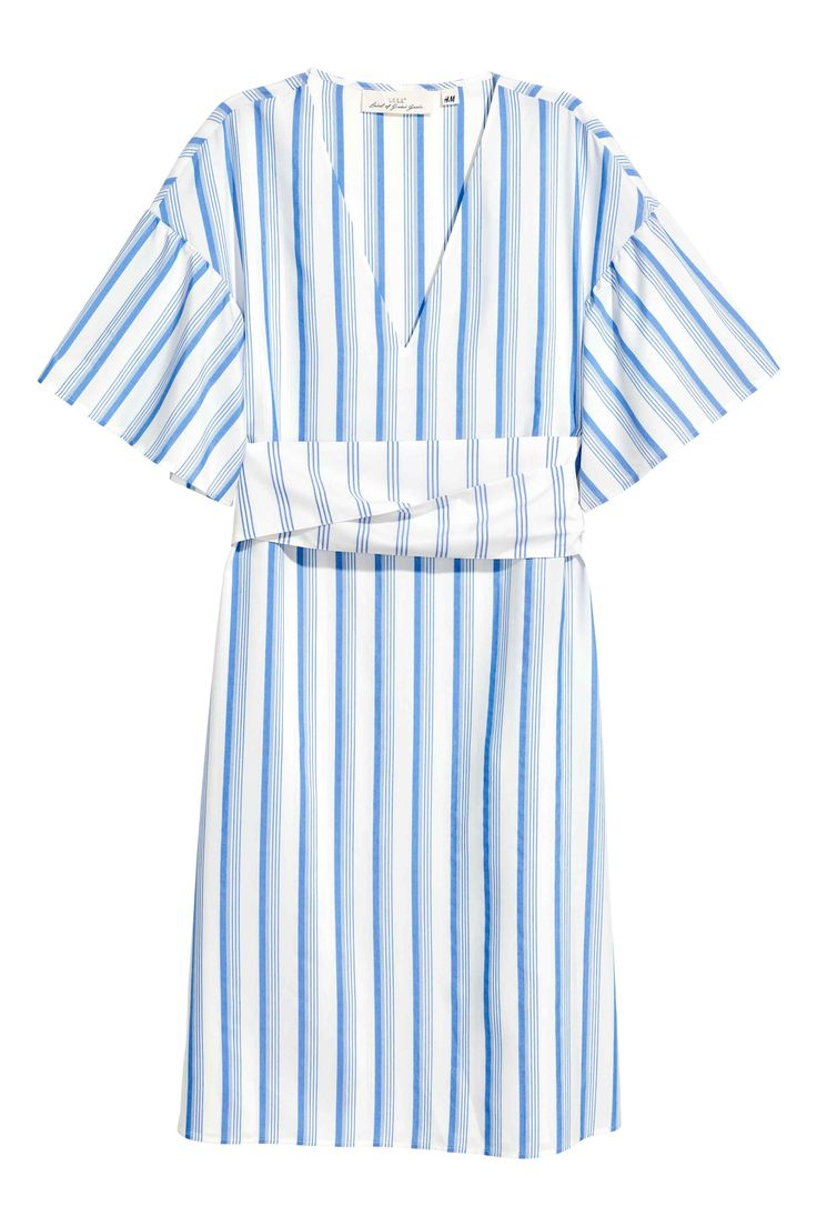 blue stripes midi dress with wide sleeves and wide tie belt at waist H&M SS17