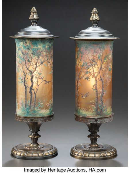 Art Glass:Other , PAIR OF HANDEL TEROMA PAINTED GLASS AND PATINATED BRASS LAMPS .Circa 1910, Painted to shade: HANDEL 6991, Bedigig. 8-3/...(Total: 2 Items)