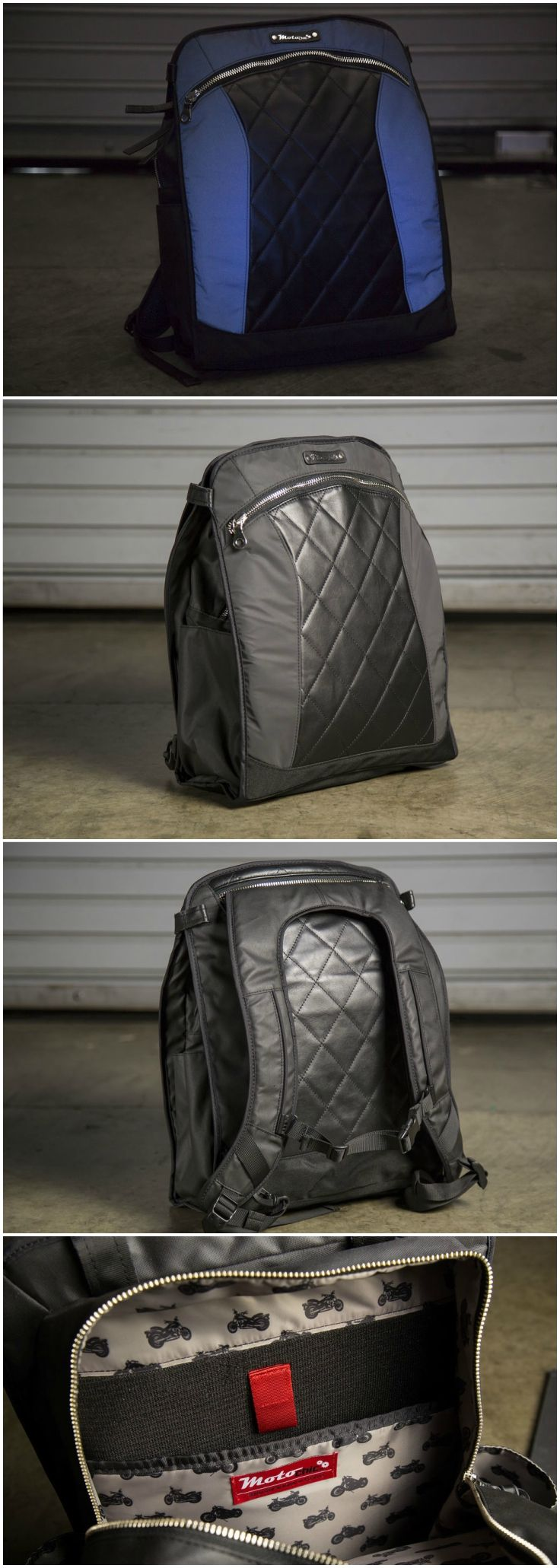 @motorcyclist TESTED: MOTOCHIC LAUREN CONVERTIBLE BACKPACK l All in all, this backpack has been very well thought out and engineered…with a female rider in mind. I don't know if any other backpack out there can say that. l motorcycle backpack / motorcycle bag / backpack / tote / tote bag / convertible backpack / ladies backpack / womens backpack / black backpack / leather backpack / convertible backpack tote