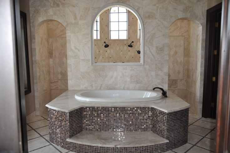 Walk Through Shower Master Bathroom | Master bathroom incorporates a walk-in shower and jacuzzi bathtub.