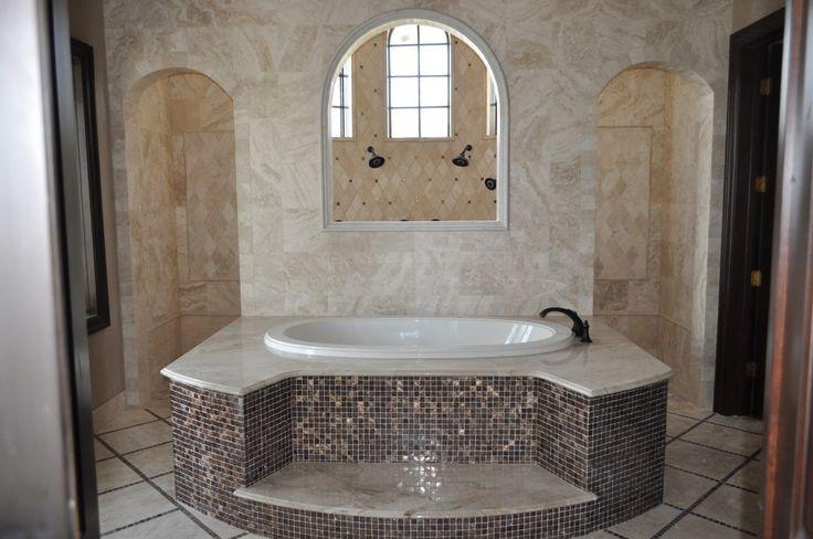 Walk Through Shower Master Bathroom | Master bathroom incorporates a walk-in shower and jacuzzi bathtub.