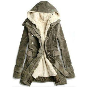 Amazon.co.jp: モッズコート コート ジャケット ミリタリー レディース フード ブルゾン パーカー アウター 4色 グリーン ベージュ ブラック パープル M L n15: 服&ファッション小物通販