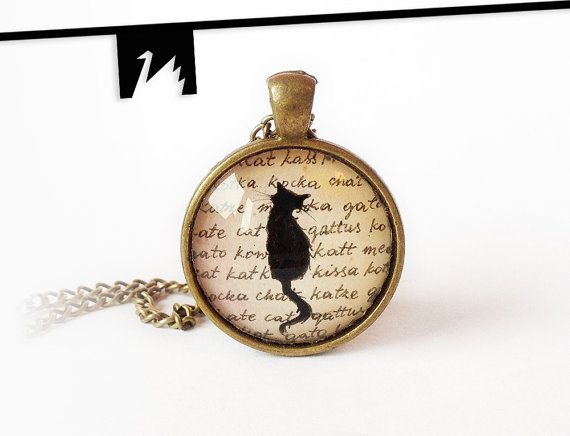 Original painting under glass black cat necklace drawing