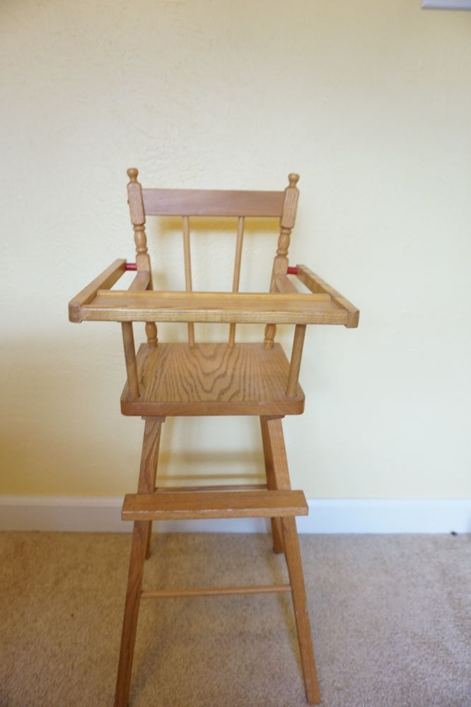 Vintage Wooden Baby Doll Children S Play Antique High Chair W