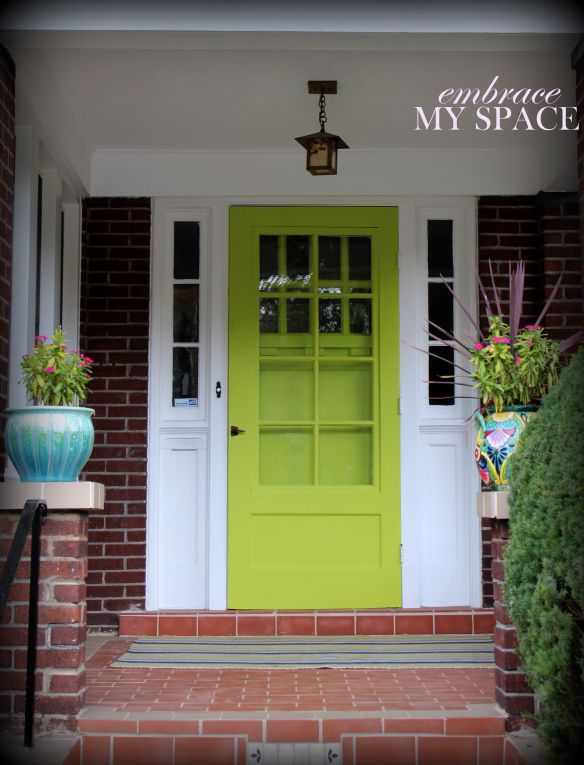 love this idea of painting the storm door too so the door stays brightly colored even with a storm door.