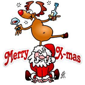 Merry X-mas - Reindeer dances on Santa fc T-Shirt design. #Tshirts #illustration #design #drawing #customprint #POD #CardvibesCatalog #Cardvibes #Tekenaartje #Zazzle #Spreadshirt #Redbubble #Society6