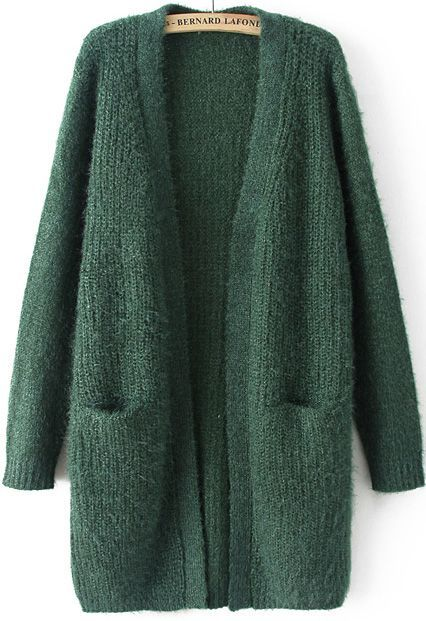Green Long Sleeve Pockets Knit Cardigan 31.00