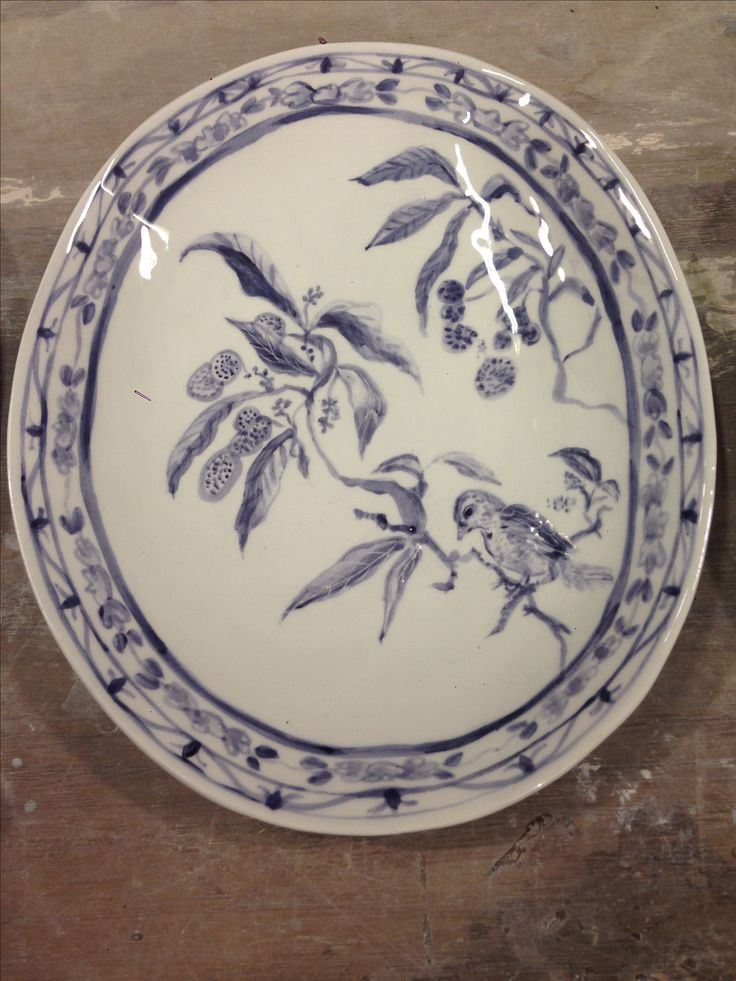 Hand painted blue and white plate