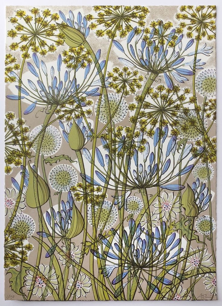 Angie Lewin 'The Walled Garden' screen print http://www.angielewin.co.uk/collections/st-judes-in-the-city-november-2016/products/angie-lewin-the-walled-garden-screen-print
