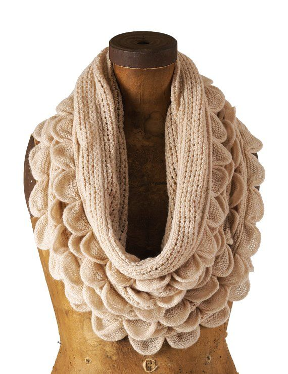 Oatmeal Cream Oversized Ruffle Knitted Infinity Loop Scarf