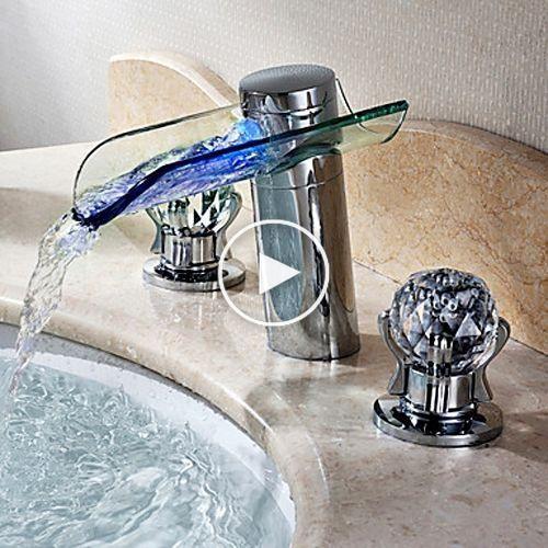 Morga led lighted vier cascade salle robinet double - Double evier salle de bain ...