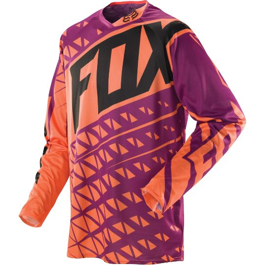Want this orange, black, and purple fox racing jersey $54.95on foxhead.com fox 360 given jersey