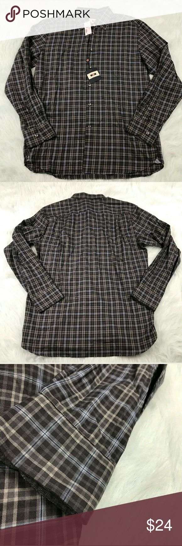 """Joseph Abboud Plaid Shirt Button Down Joseph Abboud gray blue plaid button front long sleeve shirt. Mens size Large. New with tags. See pictures for details.  Armpit to Armpit - 22"""" Length - 30""""  Inventory 04262017 Joseph Abboud Shirts"""