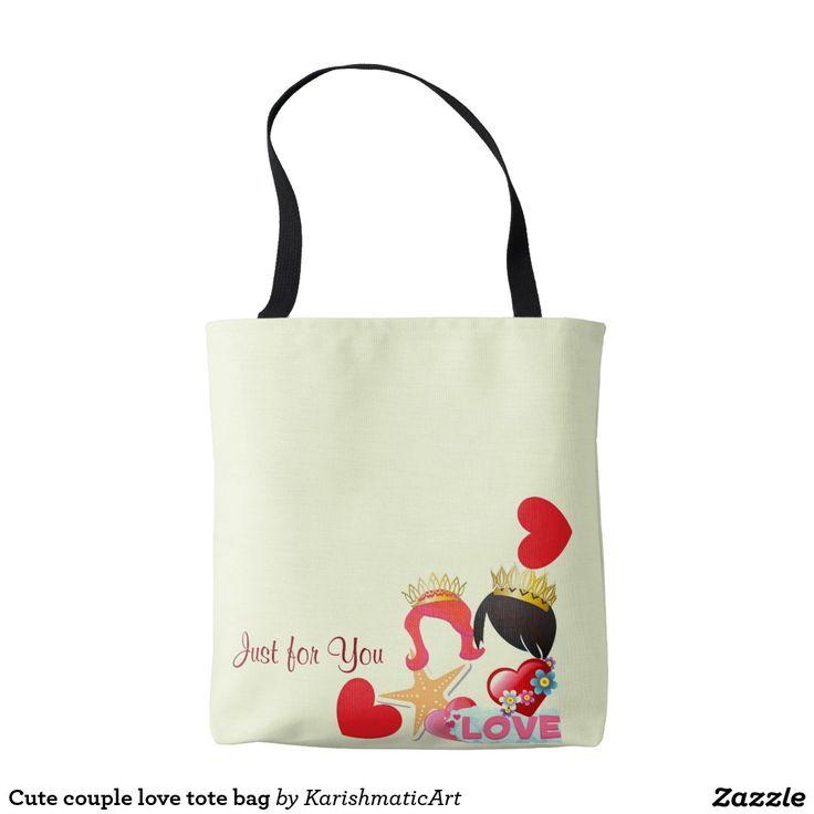 Cute couple love tote bag