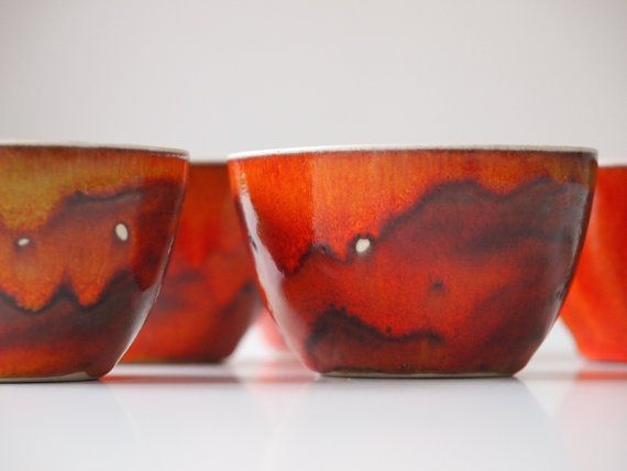 Ready to ship: Stoneware Cups, Set of 5, Ceramic Cups Orange Red. Stoneware Tea Cup Set. Tea Service. Coffee Cup Set. Handmade Pottery