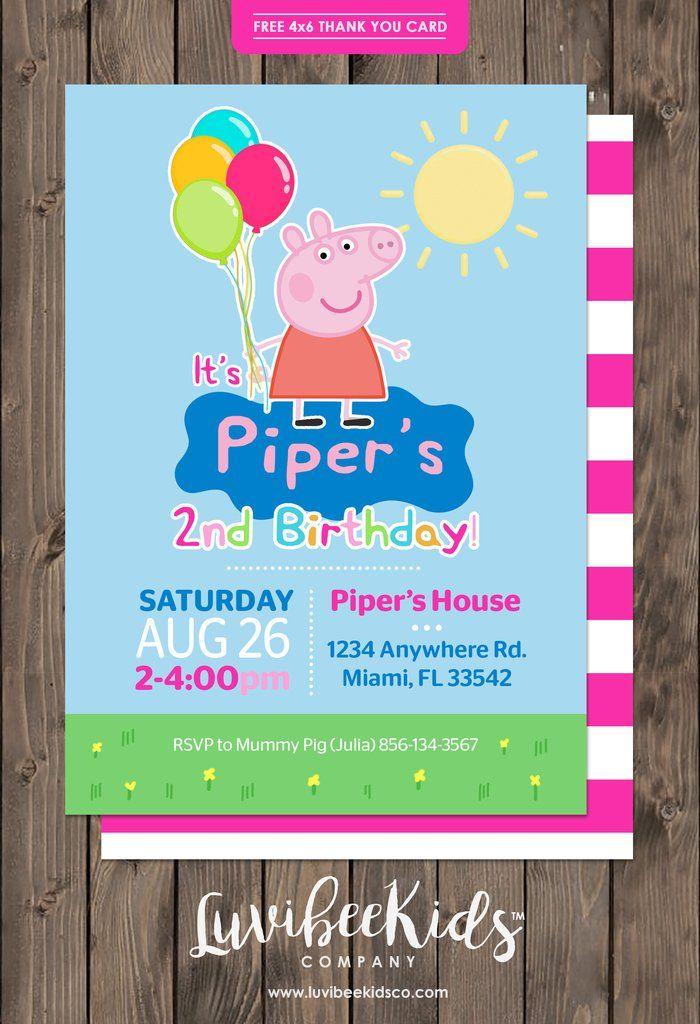 Peppa Pig Birthday Invitation   Free Backside & Thank You Card –…