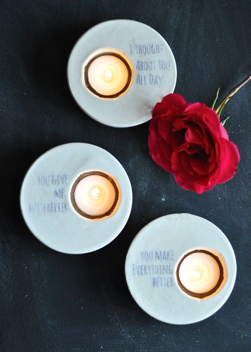 Plaster candle holder votives with transferred custom text. These are super sweet!