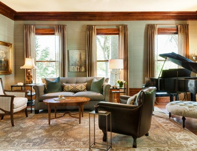 Minneapolis Traditional Living Room Decorating Ideas With Antiques Area Rug Asian Lamp Baby Grand Piano Curtain