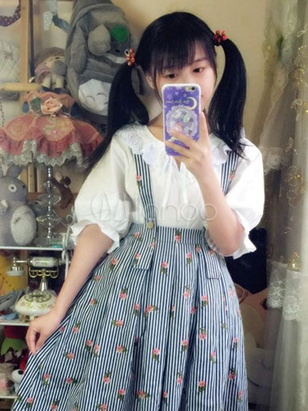 Sweet Lolita Outfit Roses Forest White Blouse With Pinafore Skirt-No.2