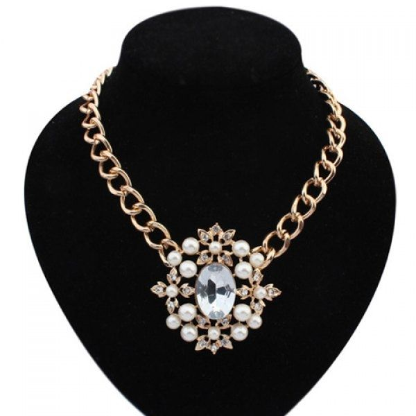 4.5$  Watch here - http://dio0u.justgood.pw/go.php?t=YE6147901 - Faux Gem Pearl Decorated Flower Pendant Necklace