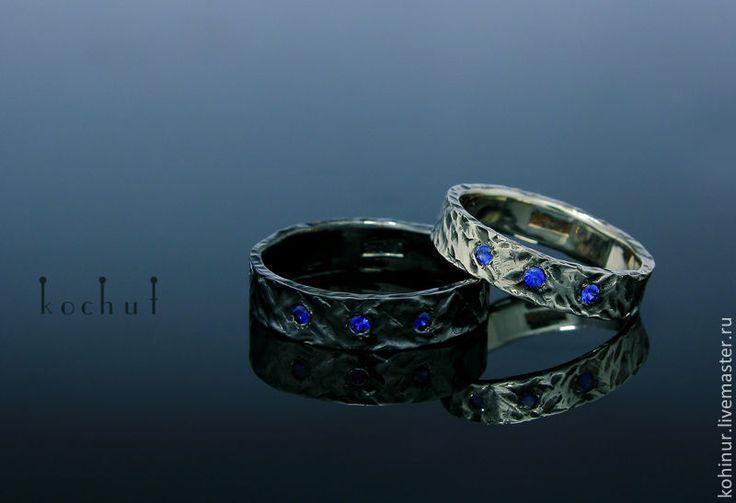 Купить Обручальные кольца. Черное золото, белое золото, сапфиры - голубой, сапфир, кольцо с сапфиром
